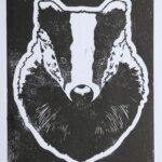 Badger linocut