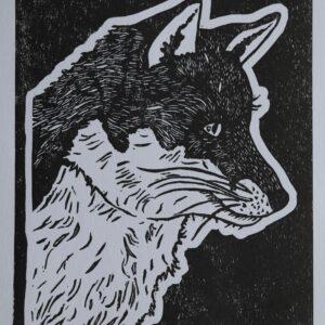 Fox 1 linocut
