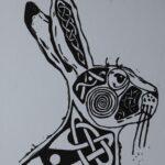 Giorria Hare linocut