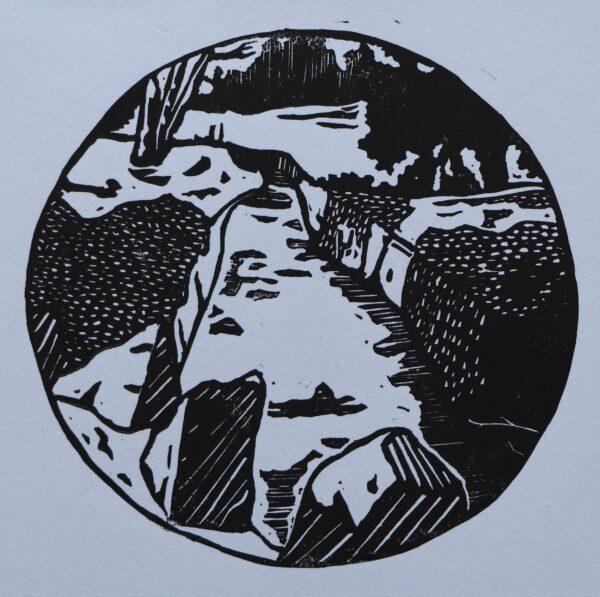 Flow of the River linocut