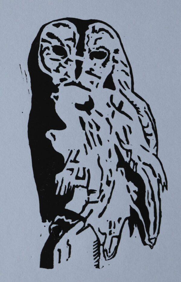 Owl linocut